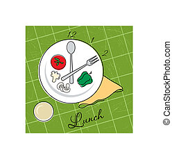 Lunch time - Vector illustration of a plate with hours for...