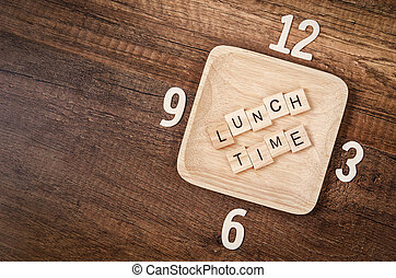 Lunch time concept. - Lunch time wooden alphabet with number...