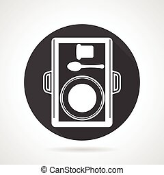 Lunch tray black round vector icon