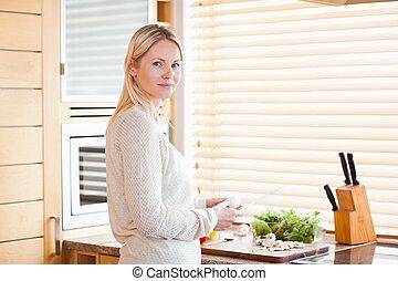 lunch, warzywa, przygotowując, kobieta
