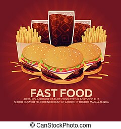 Lunch with french fries, burger and soda takeaway on...