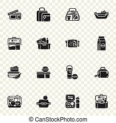 Lunchbox icon set, simple style