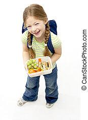 lunchbox, studio, tenue, portrait, fille souriante