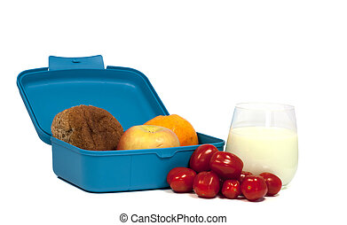 lunchbox with bread and fruit