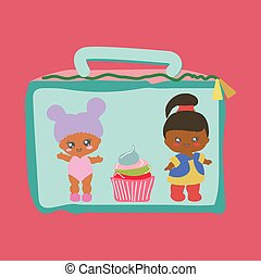 Lunchbox with cute baby dolls and a cupcake.