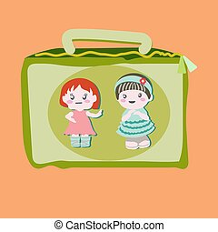 Lunchbox with cute baby dolls.