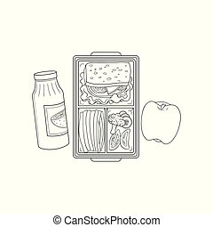Lunchbox with school or work lunch in sketch style isolated on white background.