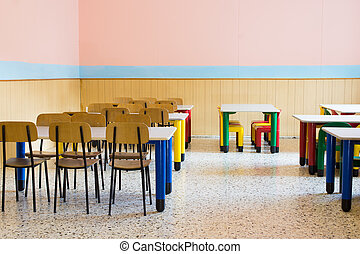 lunchroom of the refectory of the kindergarten with small benches and small chairs