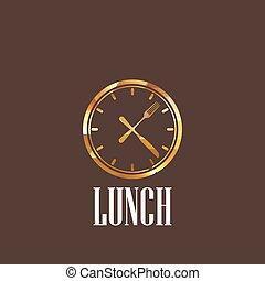 lunchtid, illustration, ikon