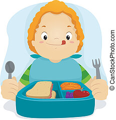 Illustration of a Kid Preparing to Eat His Lunch