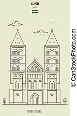 Lund Cathedral, Sweden. Landmark icon in linear style