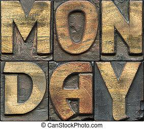 lundi, bois, letterpress