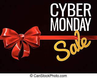 lundi, cadeau, vente, cyber, arc, signe, rouges