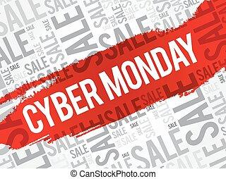 lundi, cyber, mots, nuage