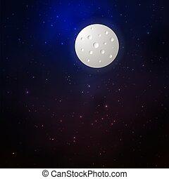 lune, étoiles, fond, espace