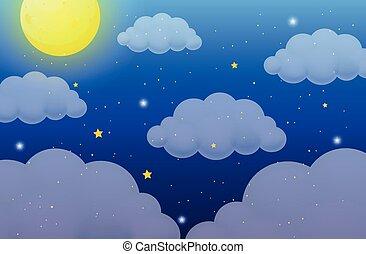 lune, étoiles, fond, nature