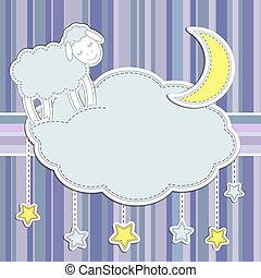 lune, étoiles, mouton, cadre, mignon