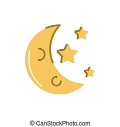 lune, étoiles, style, icône, plat