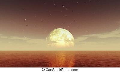 lune, 4k, mer, nuit