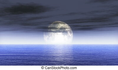 lune, 4k, océan