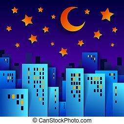 lune, application, élevé, dessin animé, vecteur, propriété, style, bâtiments, papier, maisons, ville, vrai, illustration, nuit, coupure, cityscape, gosses, time., étoiles, minuit
