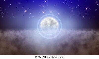 lune, au-dessus, rêve, entiers, nuages