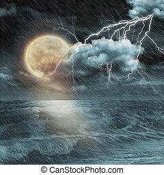 lune, bateau, soir, océan, orage