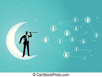lune, croissant, debout, télescope, homme affaires