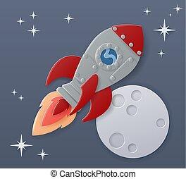lune, dessin animé, papier, bateau, scène, métier espace, fusée
