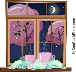lune, ensemble, grandes tasses, stars., emballé, deux, lumière, printemps, dessin animé, nuit, écharpe, fond, menthe, scarf., attaché, debout, chauffage, fenetres, vert, rose, illustration, plat, vecteur, contre