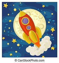 lune, fond, ciel, dessin animé, étoilé, voler, fusée