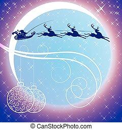 lune, fond, claus, santa, renne