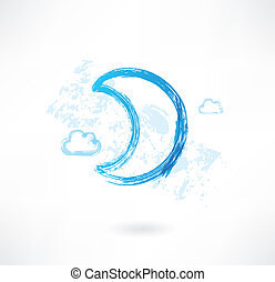 lune, grunge, icône