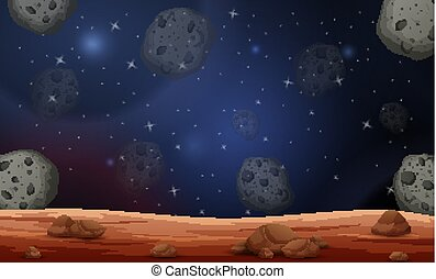 lune, illustration, scène, astéroïdes
