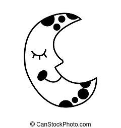 lune, isolé, étoiles, icône
