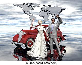 lune miel, marier, couple., récemment