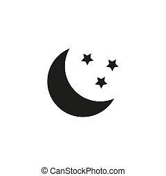 lune, minimal, icon., vecteur, étoiles, conception, plat, illustration.