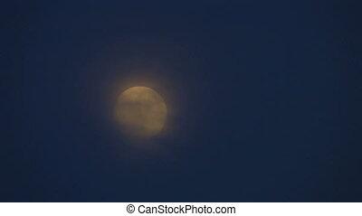 lune, nuages, ciel sombre, entiers