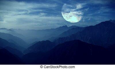 lune, nuages, défaillance, temps, entiers