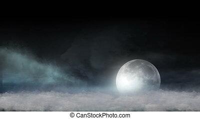 lune, nuages, résumé, 4k
