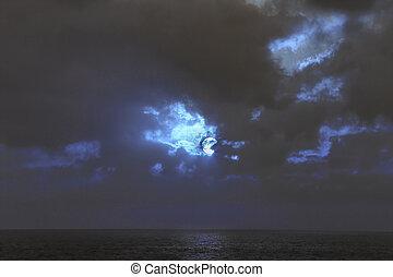lune, nuageux, nuit, mer, entiers