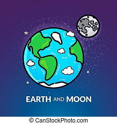lune, planète, vecteur, illustration, la terre
