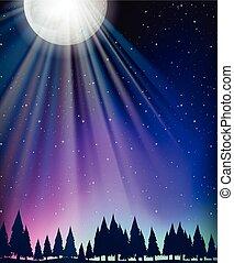 lune, scène, étoiles, nature
