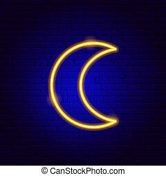 lune, signe néon