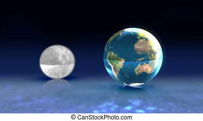 lune, soleil, animation, la terre