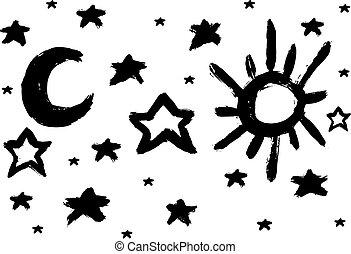 lune, star., brosse, soleil
