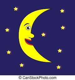 lune, stars., sourire