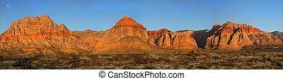 lune, sur, canyon pierre rouge, nevada, à, levers de soleil