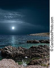 lune, sur, les, mer