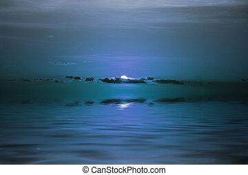 lune, sur, océan